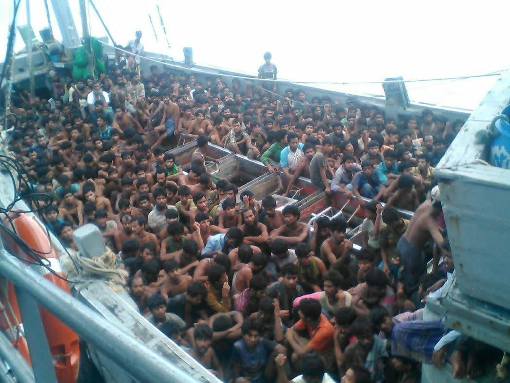 A boat of Rohingya refugees seized by Myanmar's navy in 2015.