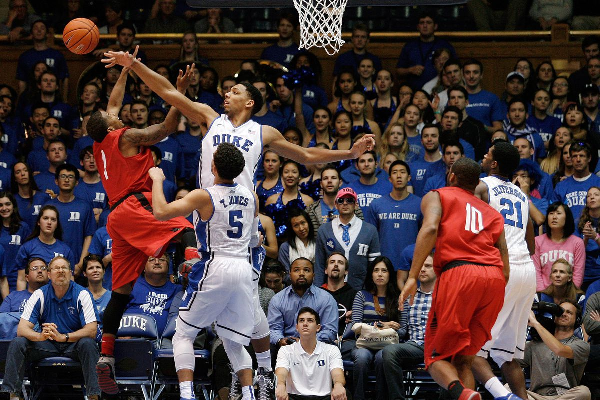 Pictured here: Jahlil Okafor blocking the shot of an NCAA athlete who will go pro in something other than sports