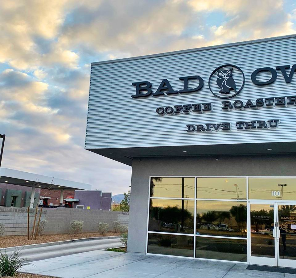 The entrance and drive-thru at Bad Owl Coffee Roasters in the southwest.