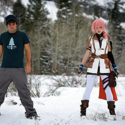 Devin Graham and Lindsey Stirling during one of Stirling's video shoots.