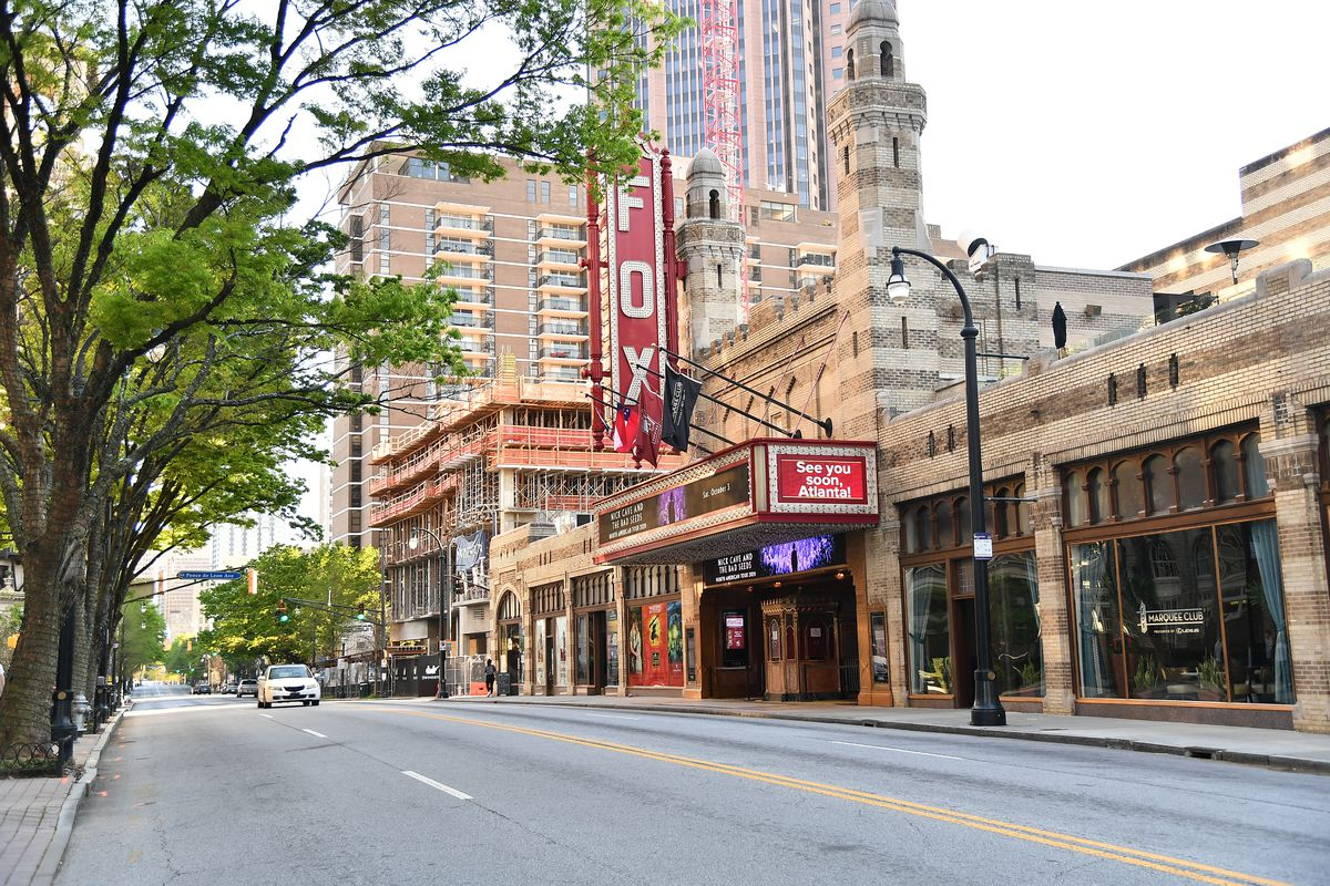 A view of the Fox Theater on Peachtree Street as the coronavirus continues to spread across the United States on March 26, 2020 in Atlanta, Georgia. The World Health Organization declared coronavirus (COVID-19) a global pandemic on March 11th.