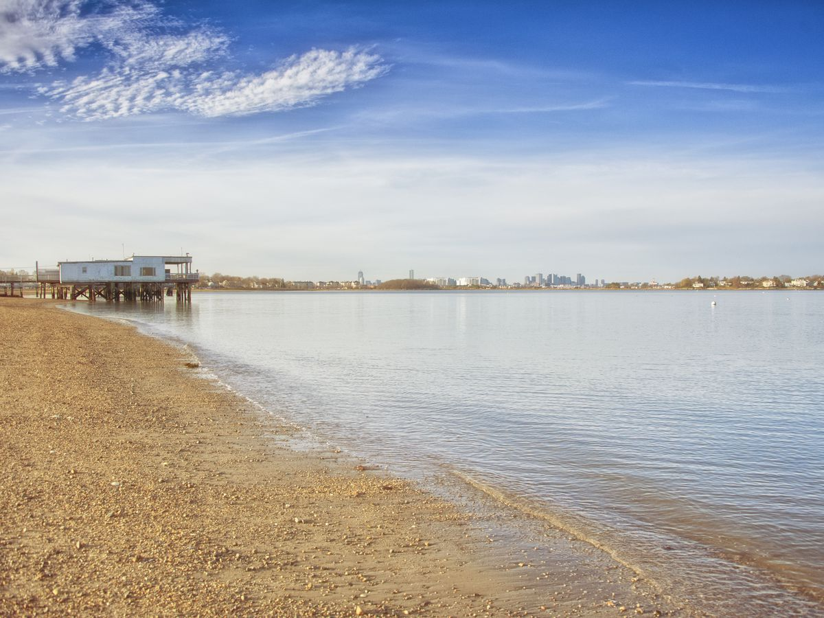 A sandy beach and a body of water. There is a pier in the distance.