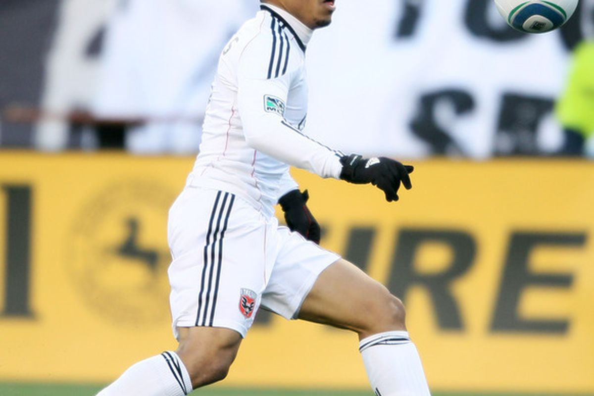 FOXBORO, MA - MARCH 26:  Charlie Davies #9 of DC United heads for the net against the New England Revolution on March 26, 2011 at Gillette Stadium in Foxboro, Massachusetts. The Revolution defeated DC United 2-1.  (Photo by Elsa/Getty Images)