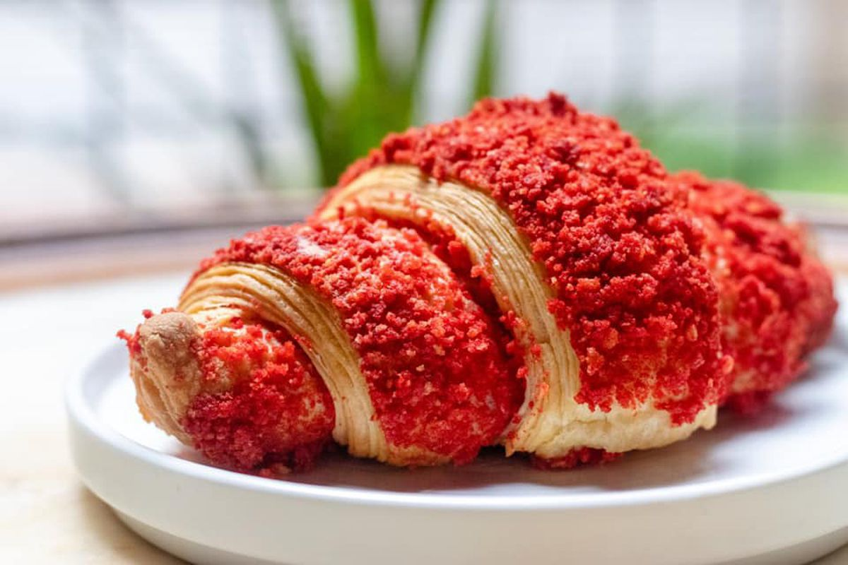 hot cheetos crusted croissant