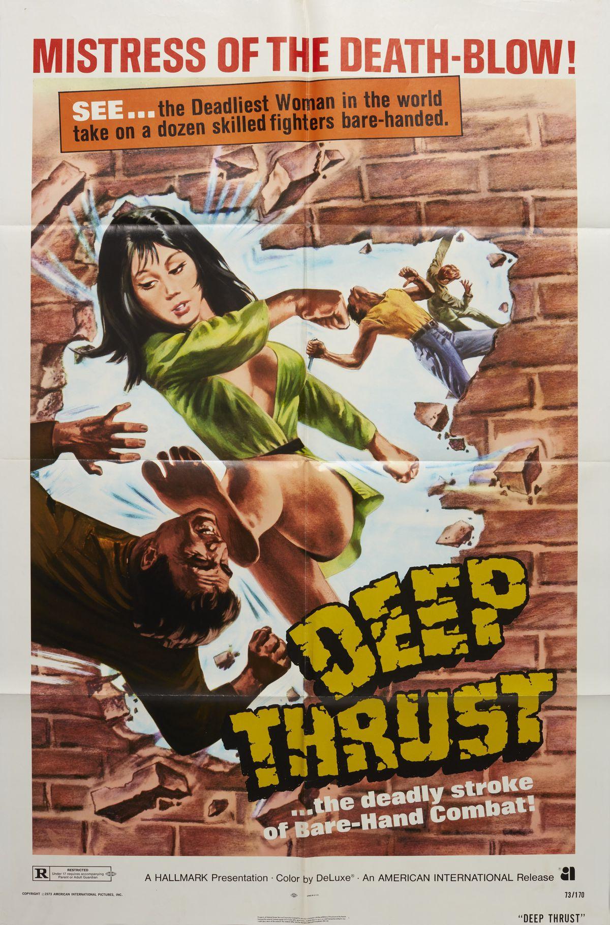Deep Thrust poster: a woman punching through a brick wall