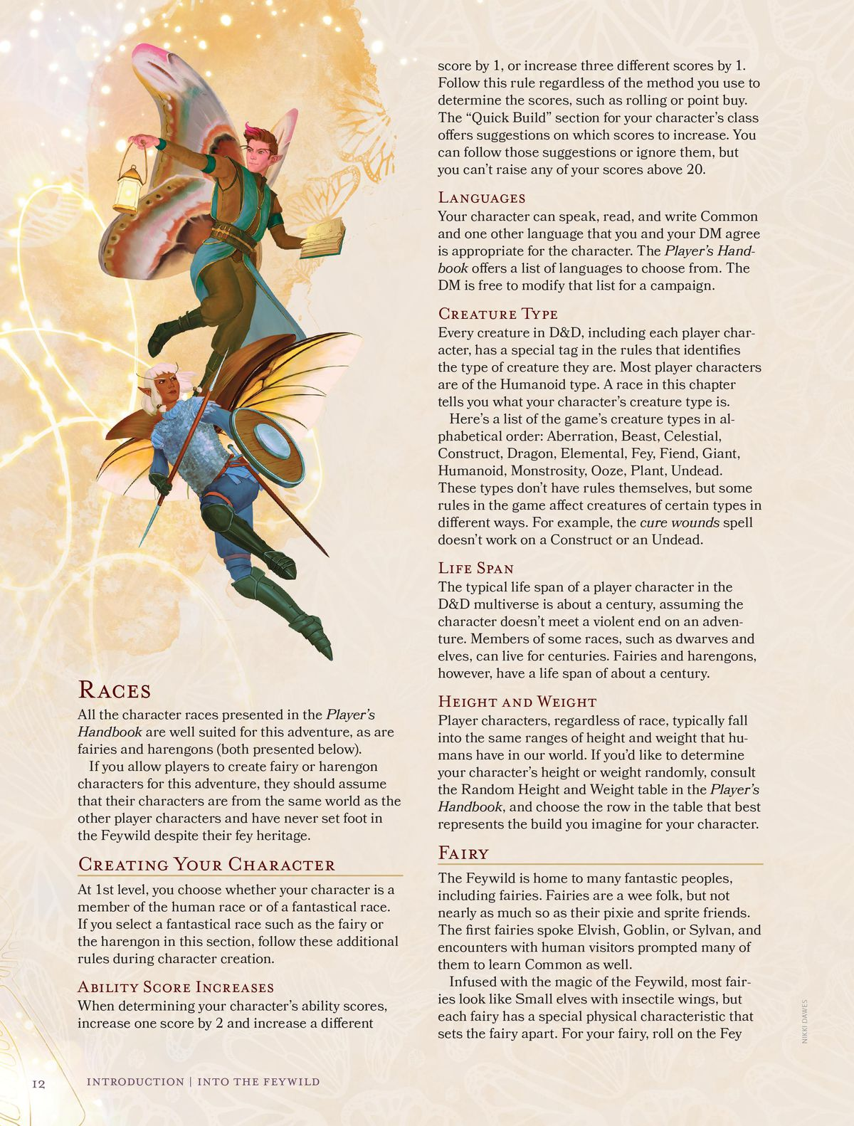 An example page from The Wild Beyond The Witchlight showing the first few lines of text from the fairy race.
