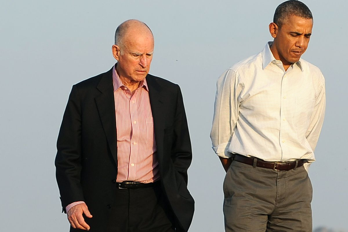 President Obama with California Gov. Jerry Brown, who leads one of only ten states under Democratic control.