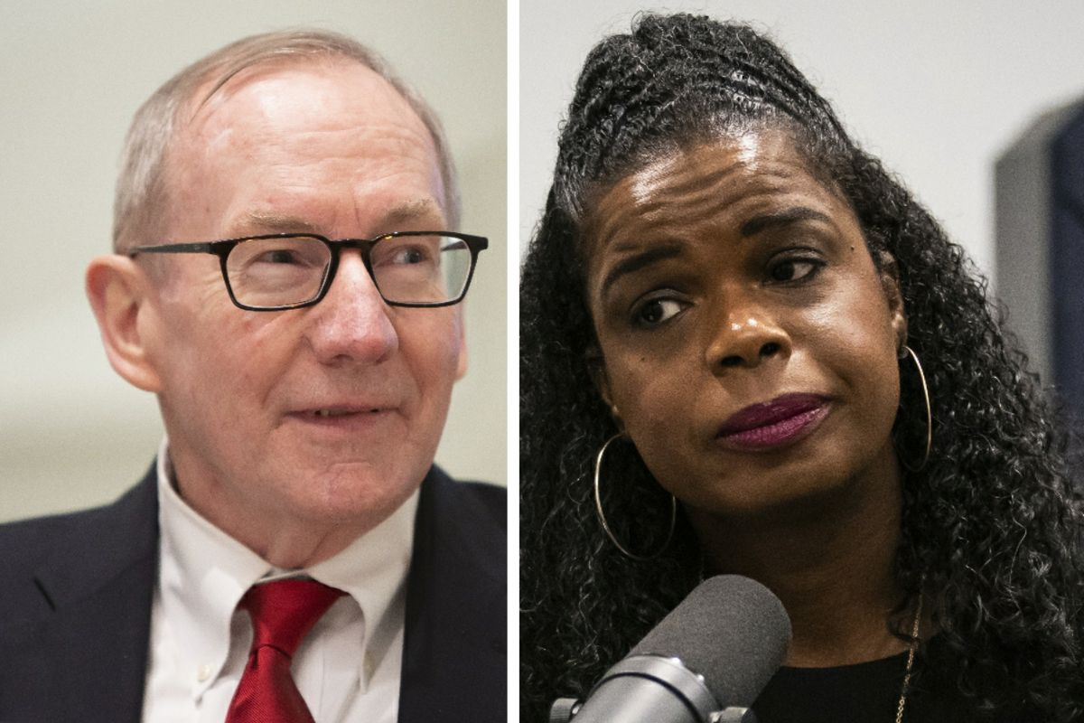 Republican challenger Pat O'Brien, left; Cook County State's Attorney Kim Foxx, right.