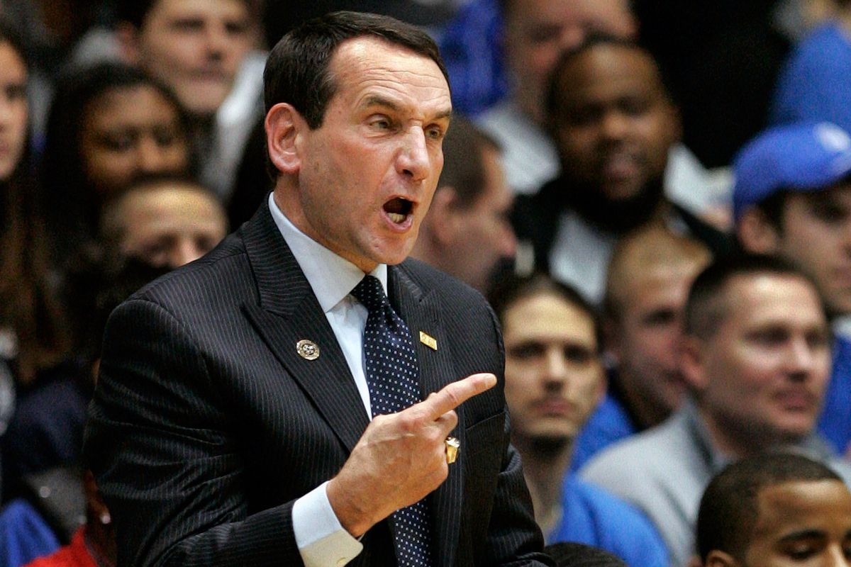 Coach K looking like his usual angry self