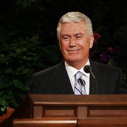 President Dieter Uchtdorf speaks during the 182nd Annual General Conference for The Church of Jesus Christ of Latter-day Saints in Salt Lake City  Sunday, April 1, 2012.