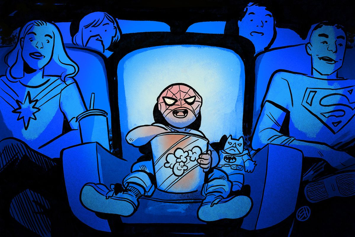 Illustration of a young spider man fan in the cinema eating popcorn and watching a movie surrounded by other superhero fans