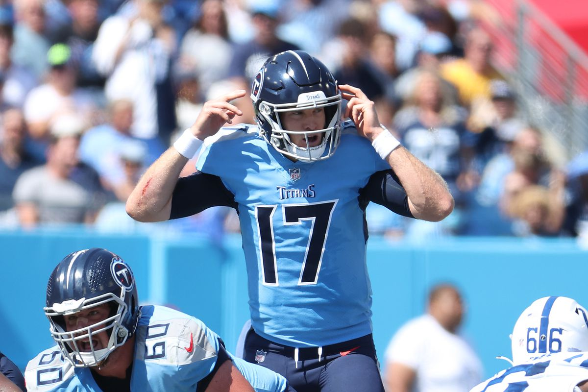 Ryan Tannehill #17 of the Tennessee Titans against the Indianapolis Colts at Nissan Stadium on September 26, 2021 in Nashville, Tennessee.