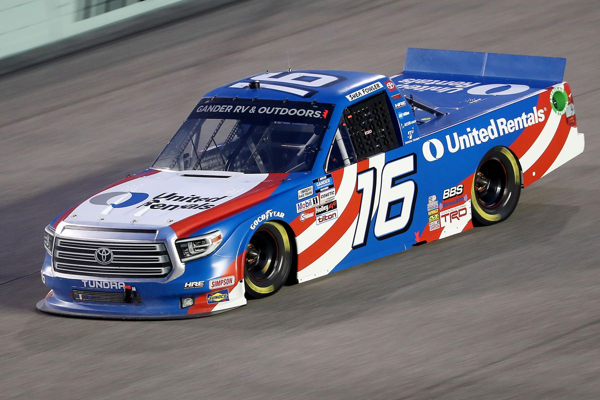 Austin Hill, driver of the United Rentals Toyota, races during the NASCAR Gander RV & Outdoors Truck Series Baptist Health 200 at Homestead-Miami Speedway on June 13, 2020 in Homestead, Florida.