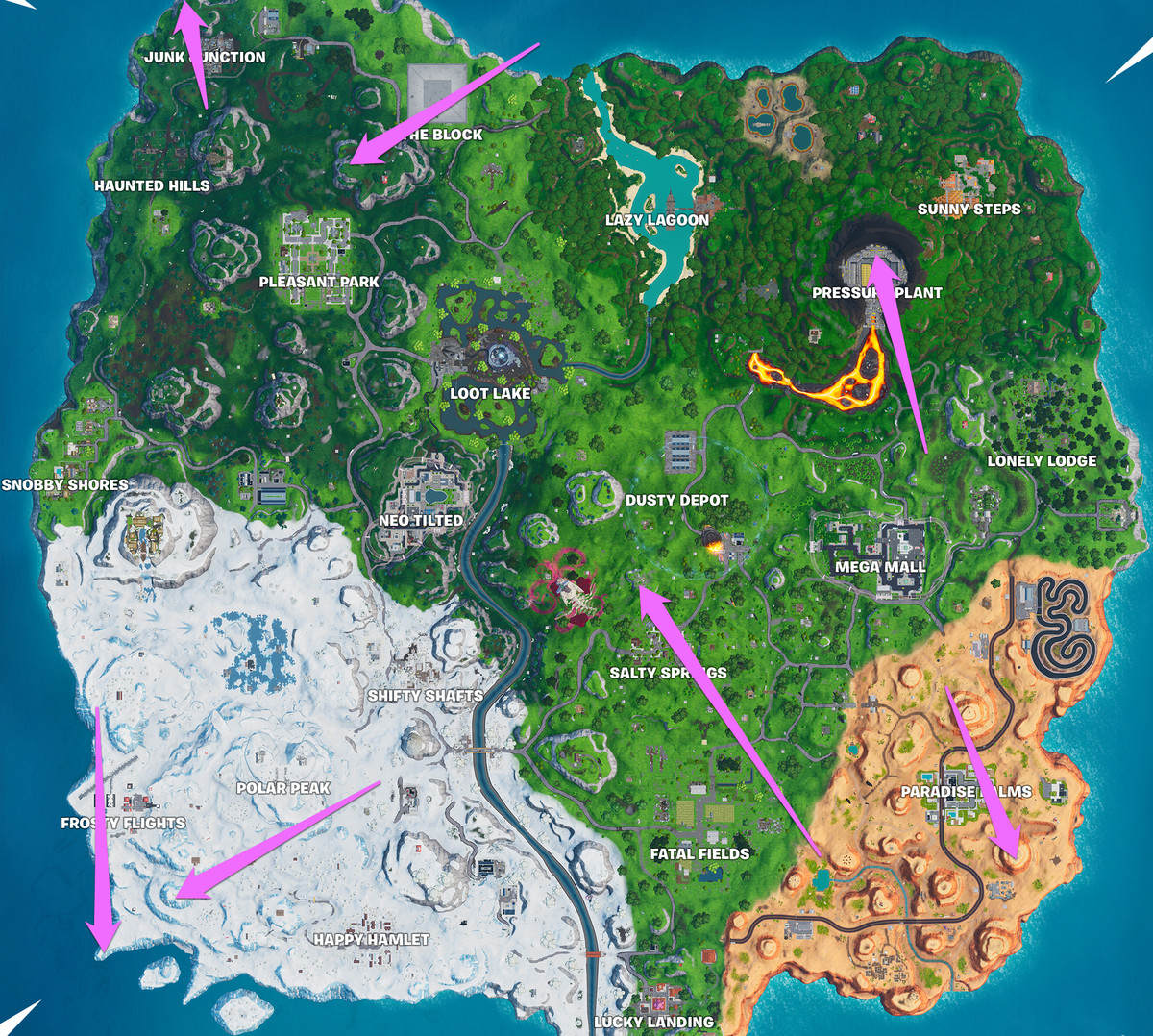 All of the no dancing sign locations marked on the Fortnite map