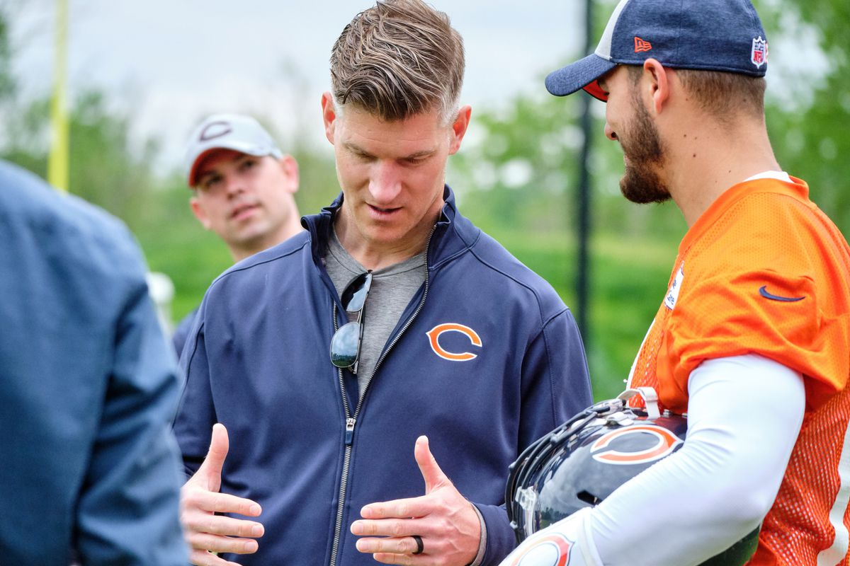 Chicago Bears quarterback Mitchell Trubisky talks with Chicago Bears general manager Ryan Pace after the Chicago Bears organized team activities or OTA on May 29, 2019 at Halas Hall in Lake Forest, IL.
