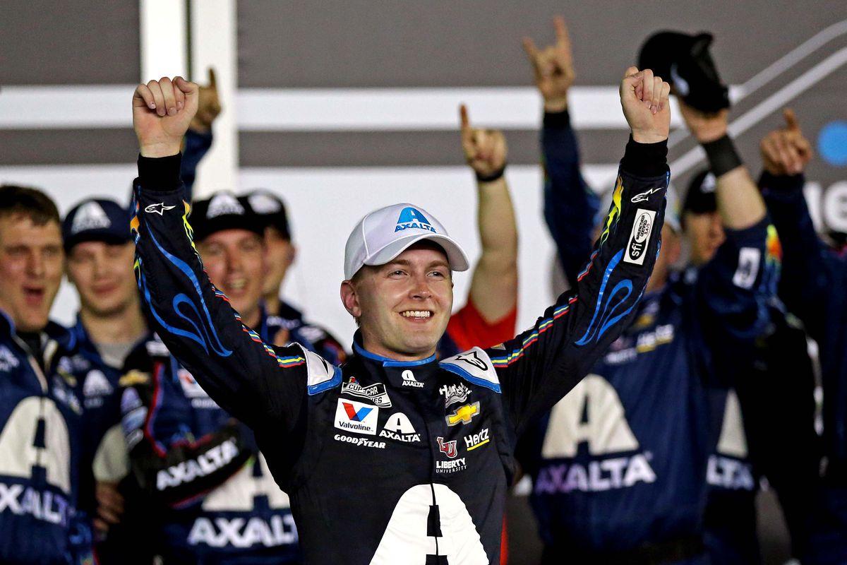 NASCAR Cup Series driver William Byron celebrates winning the second Bluegreen Vacations Duels At DAYTONA at Daytona International Speedway.