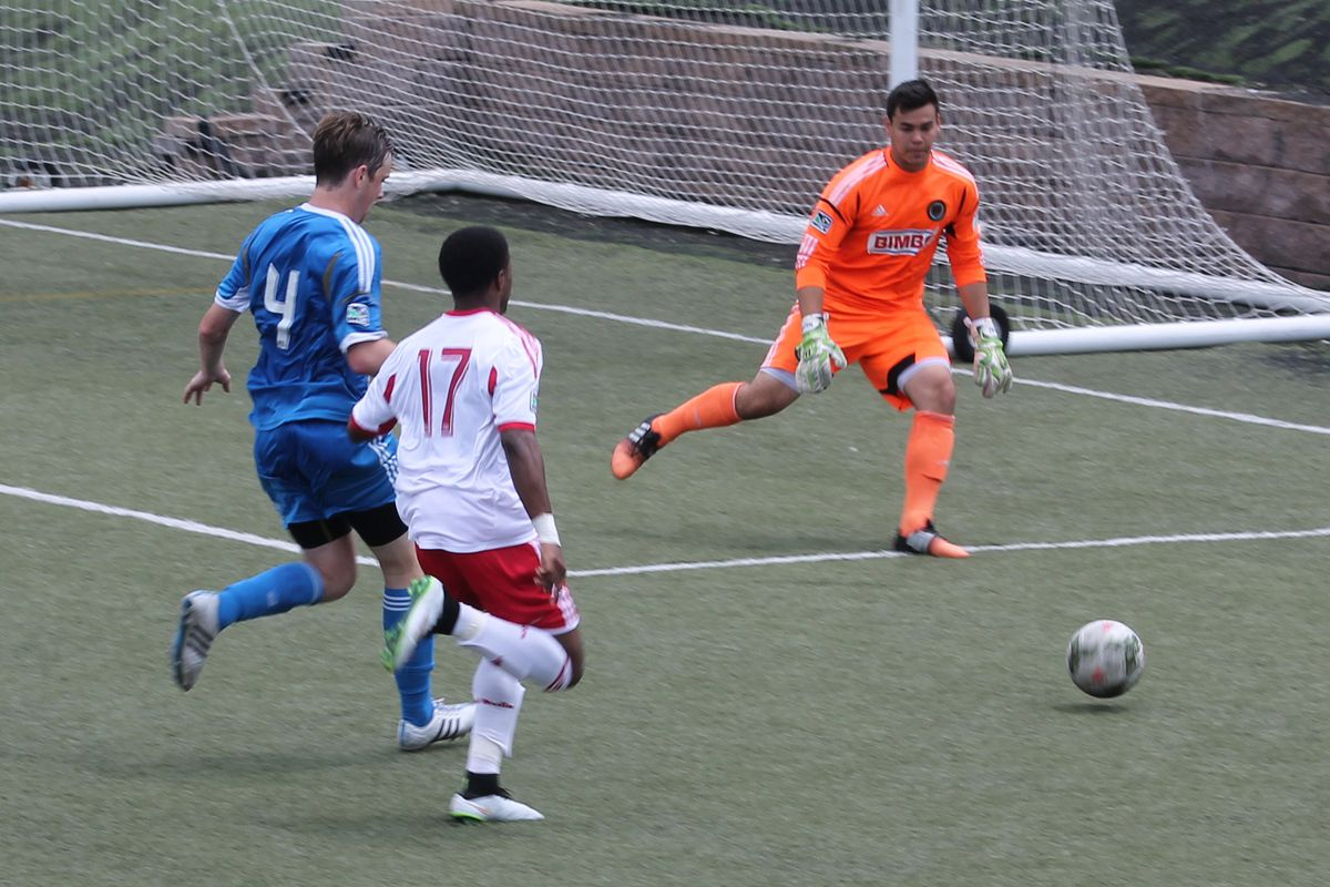 Goalkeeper Cameron Keys and defender Shane Bradley defending a ball in the box against Red Bulls on Saturday