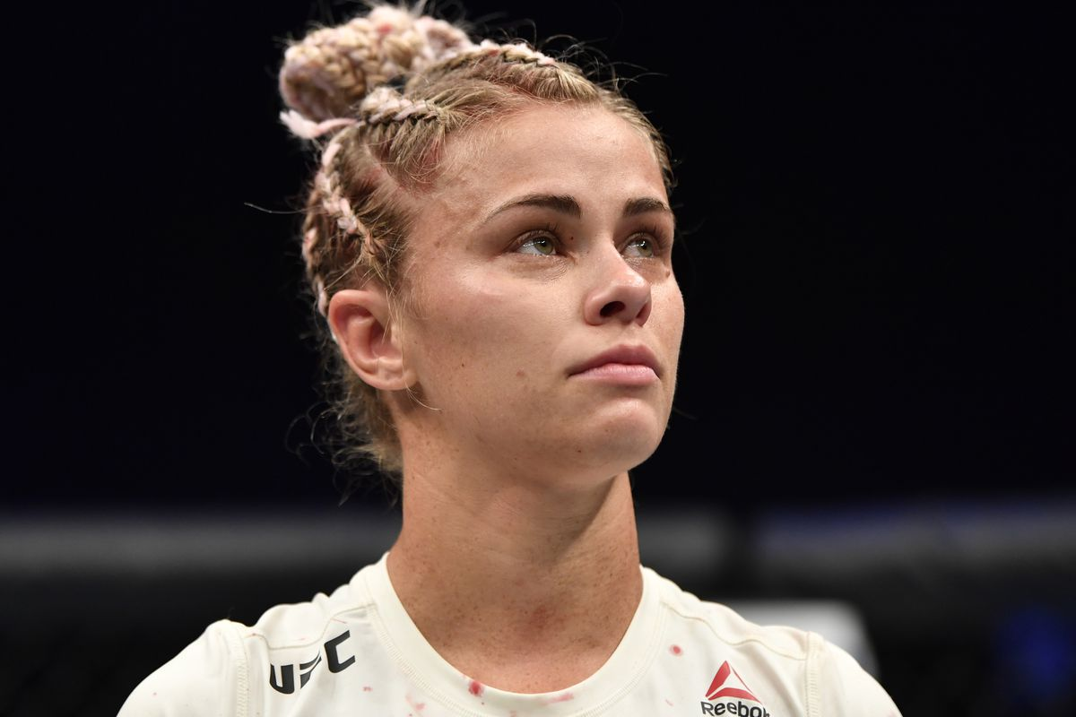 Paige VanZant reacts after her submission loss to Amanda Ribas in their flyweight fight during the UFC 251 event at Flash Forum on UFC Fight Island on July 12, 2020 on Yas Island, Abu Dhabi, United Arab Emirates.