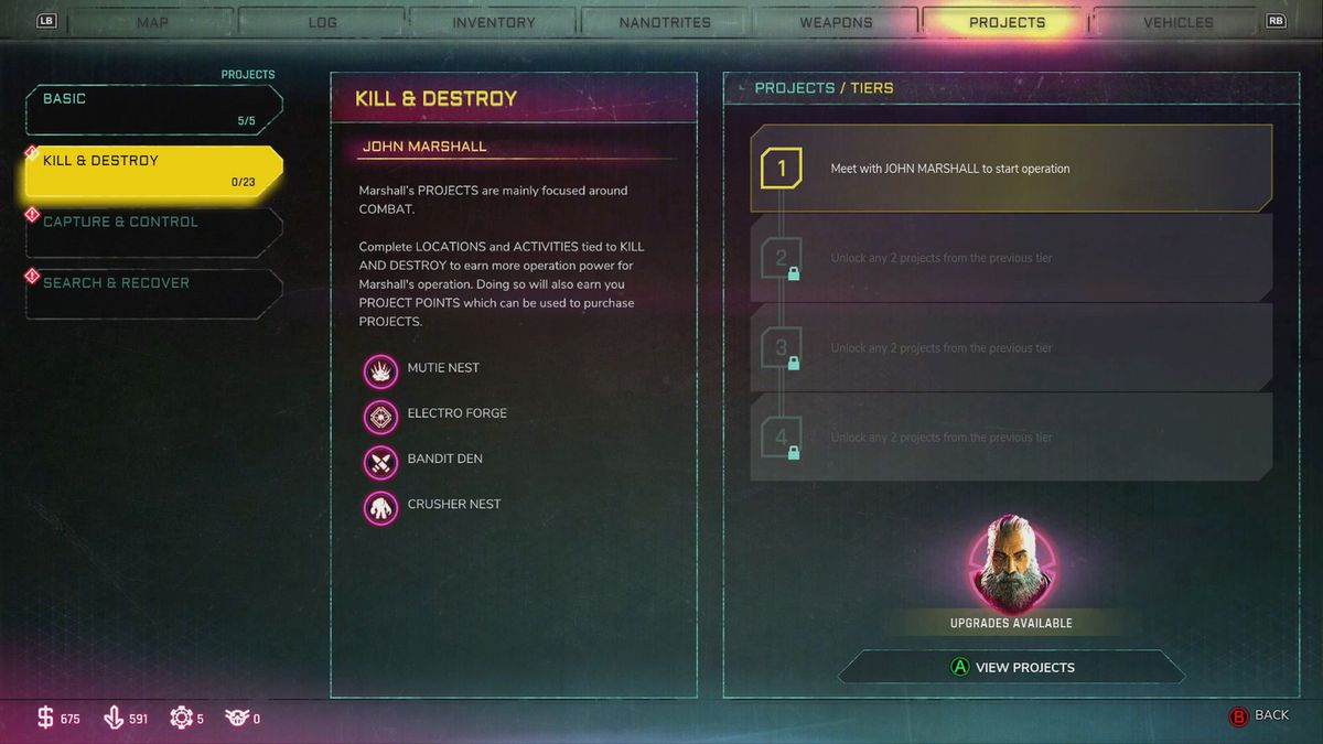 Rage 2 Project menu