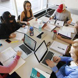 Students study at The University of Utah's J. Willard Marriott Library in Salt Lake City Wednesday, Jan. 21, 2015.