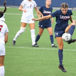 UConn's Cara Jordan #26 during the UMass Minutewomen vs the UConn Huskies at Morrone Stadium at Rizza Performance Center in an exhibition women's college soccer game in Storrs, CT, Monday, August 9, 2021.