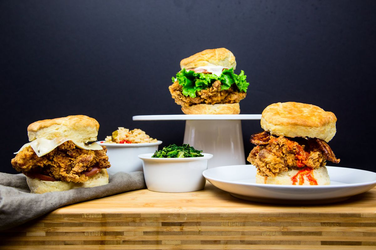 Fried chicken sandwiches at Mason Dixie Biscuit Co.