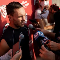 Utah wide receiver Britain Covey talks to journalists after practice at the Spence and Cleone Eccles Football Center in Salt Lake City on Monday, Oct. 4, 2021. This was the first opportunity for players to talk to journalists after defensive back Aaron Lowe was shot and killed on Sept. 26.