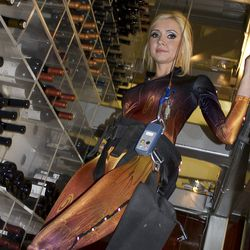 The new costume in the wine tower at Aureole.
