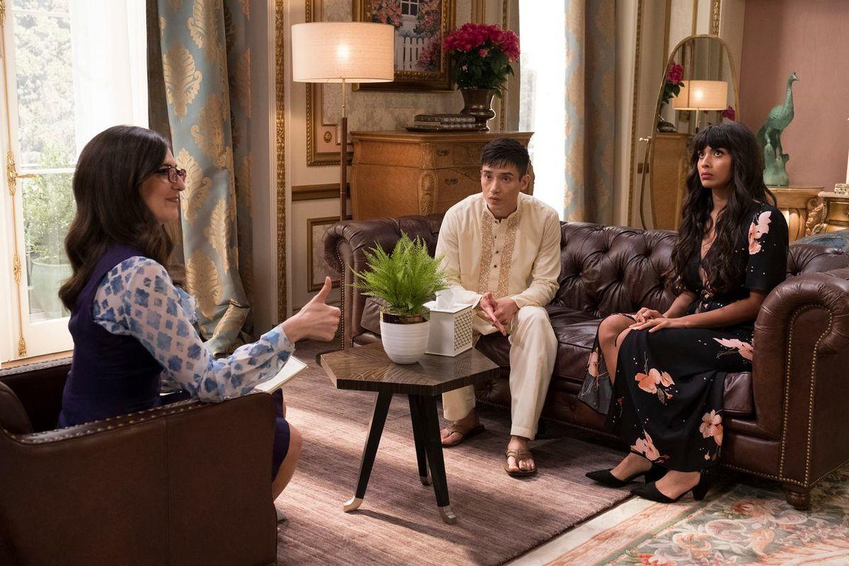 D'Arcy Carden as Janet, Manny Jacinto as Jason, and Jameela Jamil as Tahani on The Good Place.