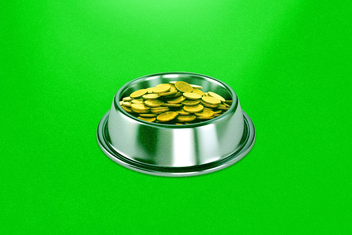 An illustration of coins in a dog bowl.