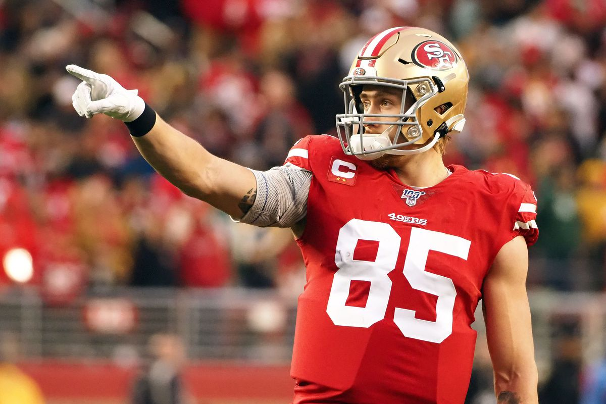 San Francisco 49ers tight end George Kittle reacts against the Green Bay Packers during the first half in the NFC Championship Game at Levi's Stadium.
