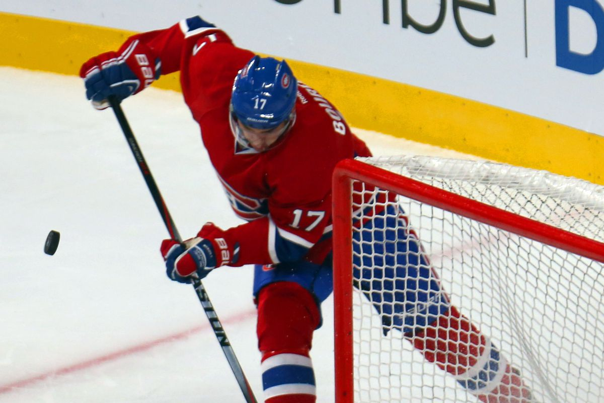 Sep 23, 2014; Montreal, Quebec, CAN; Montreal Canadiens left wing Rene Bourque (17) misses a chance to score a goal against Boston Bruins goalie Niklas Svedberg (72)