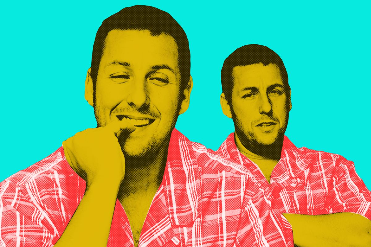One shot of Adam Sandler smirking, and another with his arms crossed