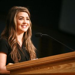 Sister Brooke Martin tells her story of converting to Mormonism during the Christmas Morning Devotional at the Missionary Training Center in Provo on Tuesday, Dec. 25, 2012.