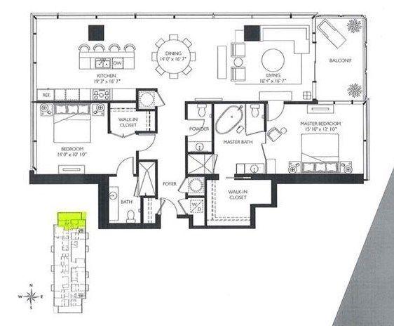 A floorplan for a downtown condo.