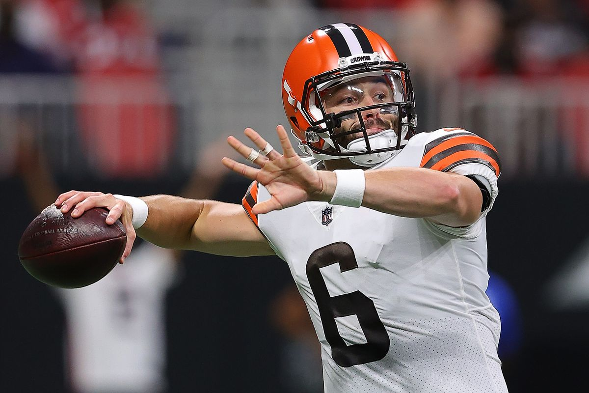 Baker Mayfield #6 of the Cleveland Browns looks to pass against the Atlanta Falcons during the first half at Mercedes-Benz Stadium on August 29, 2021 in Atlanta, Georgia.