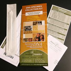 A relative genetics DNA test kit at Sorenson Genomics Lab. Ancestry.com is one of the leaders in using DNA testing for family history purposes.