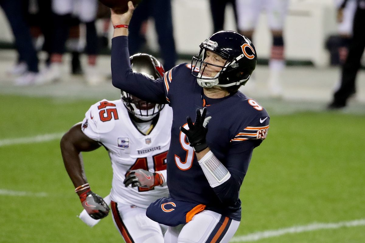 Bears quarterback Nick Foles has an 83.9 passer rating in three games since replacing Mitch Trubisky — he's completed 72-of-113 passes for 680 yards, five touchdowns and three interceptions.