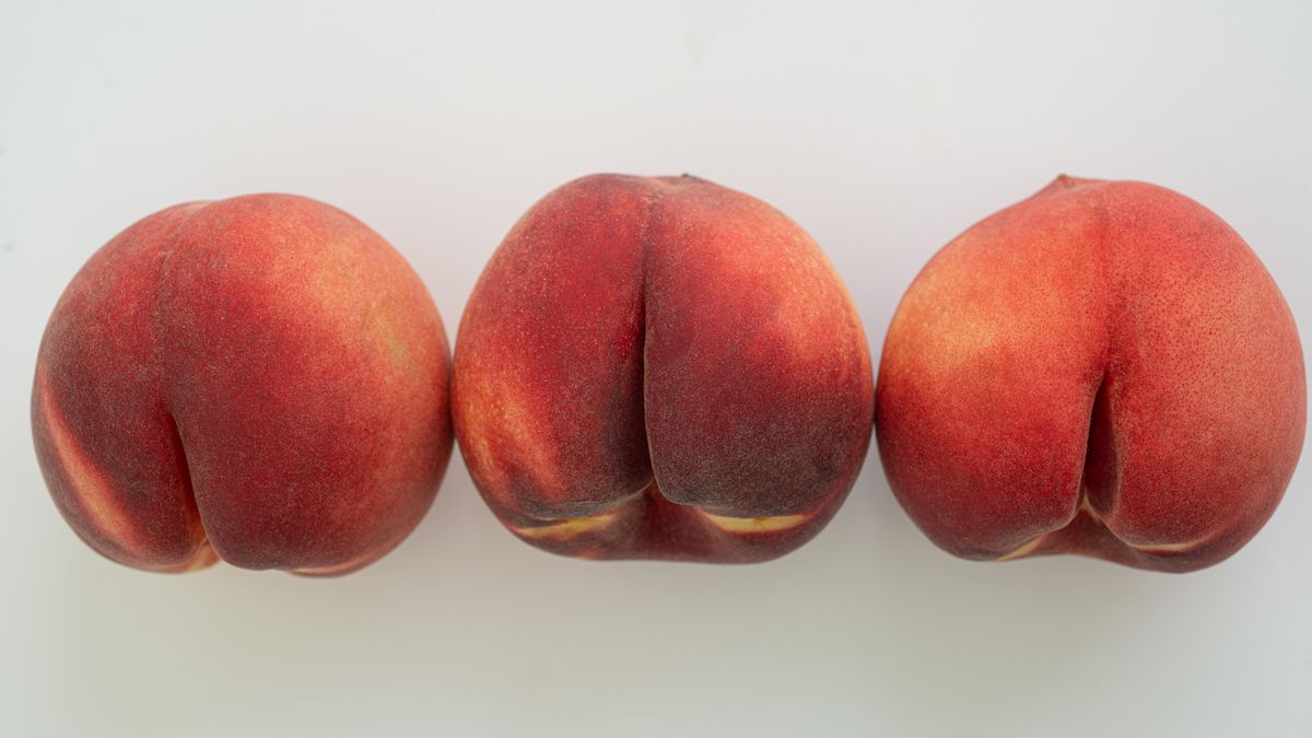 Three peaches showing their resemblance to human butts.