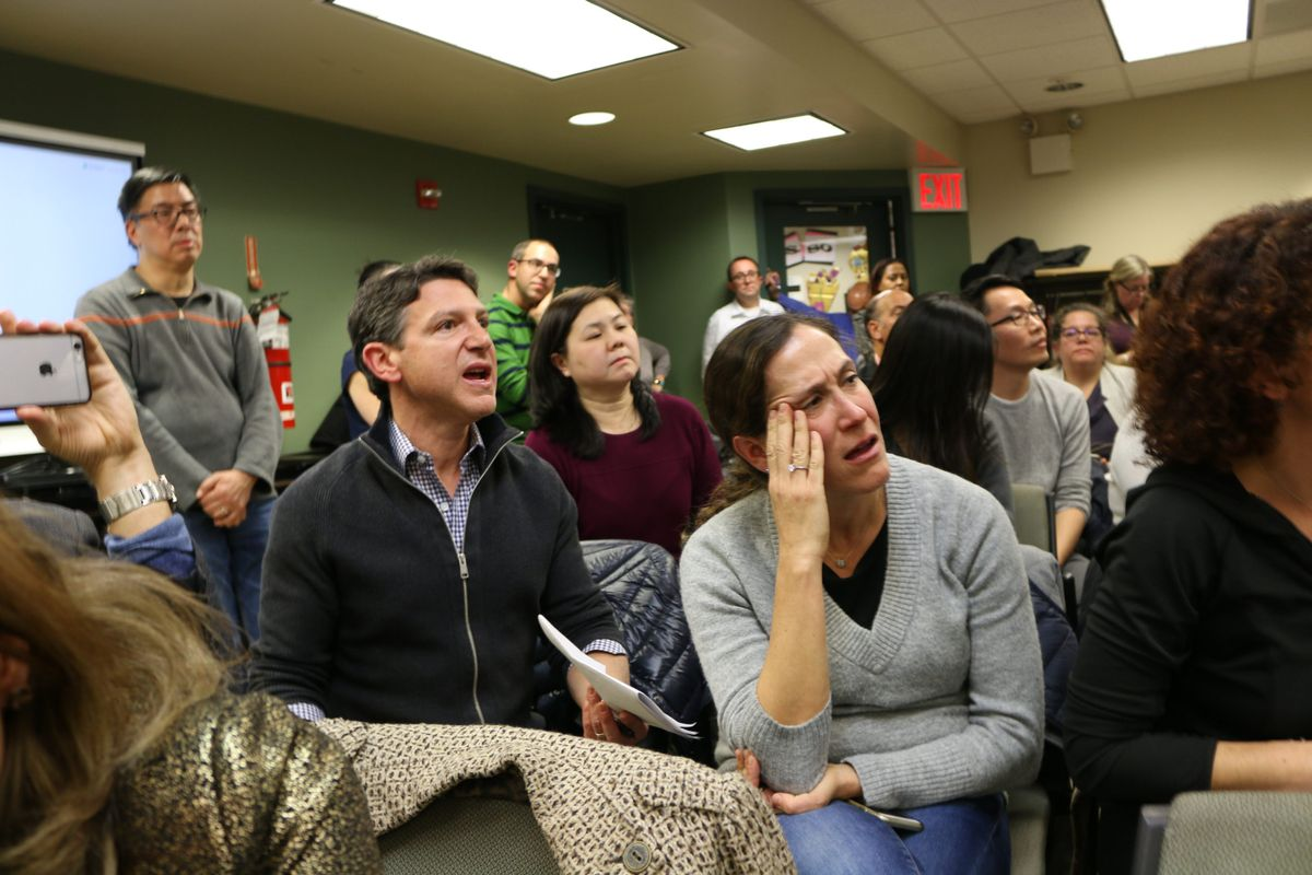 Angry parents shouted questions and concerns about middle school integration plans at a December 2019 meeting of the District 28 Community Education Council.