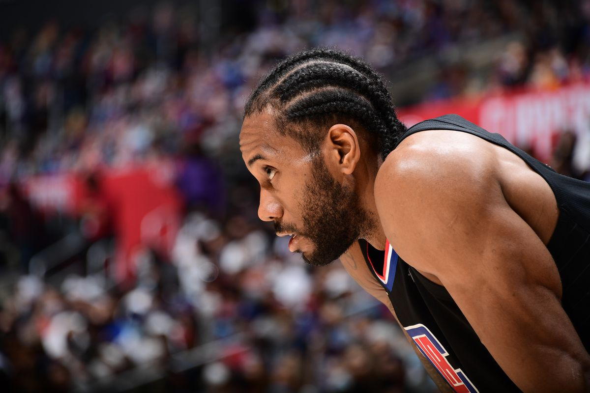 Kawhi Leonard of the LA Clippers looks on during Round 2, Game 4 of 2021 NBA Playoffs on June 14, 2021 at STAPLES Center in Los Angeles, California.