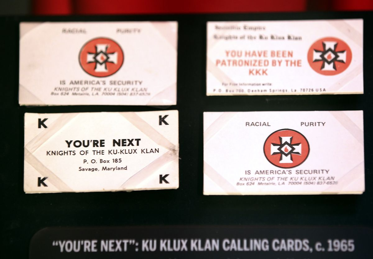 The Klu Klux Klan would leave calling cards as tools of intimidation. These were on display as part of a traveling exhibit at the Illinois Holocaust Museum and Education Center in Skokie.   Sun-Times file photo