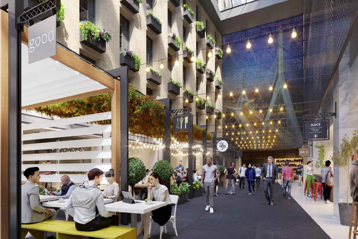 A rendering of the interior of High Street Place, a forthcoming downtown Boston food hall
