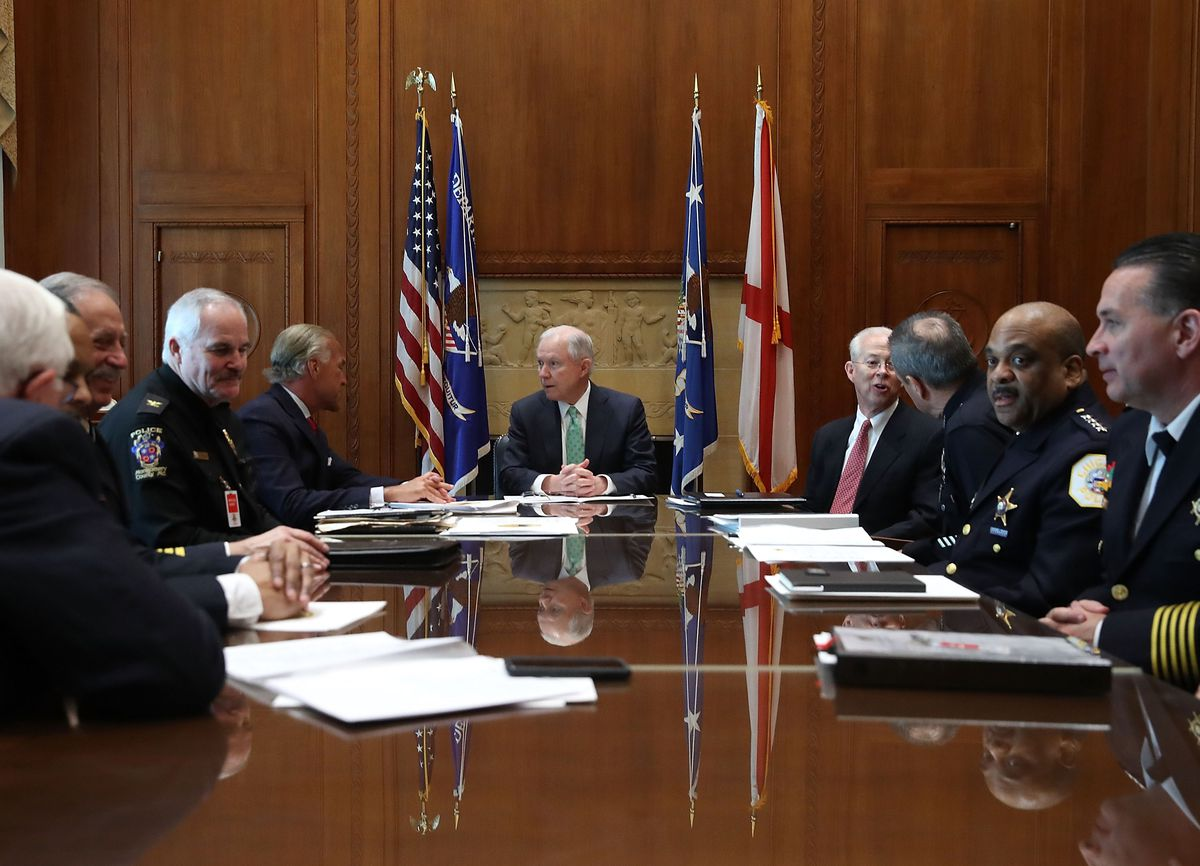 Attorney General Jeff Sessions (center) meets with big-city police chiefs, including Supt. Eddie Johnson (second from right), at the Justice Department on Thursday. | Getty Images