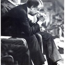 LDS President Spencer W. Kimball and President Carter at Tabernacle in 1976.