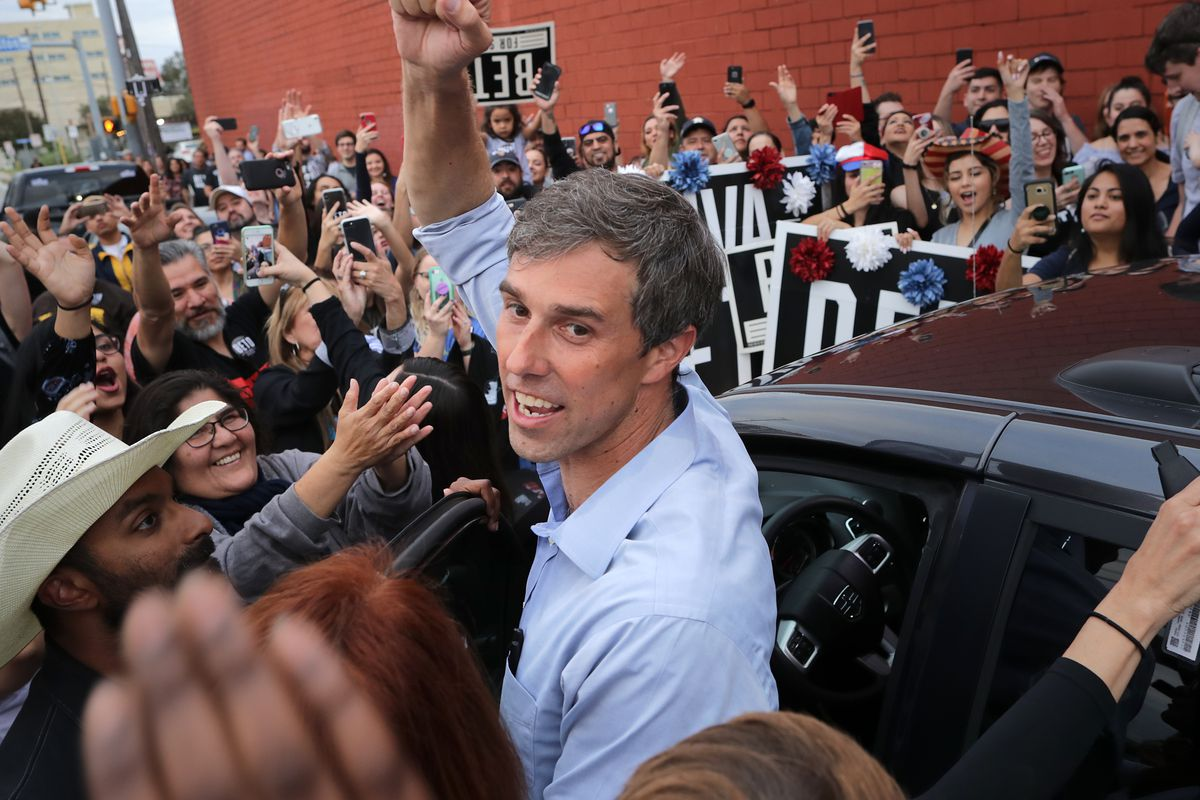 Senate candidate Rep. Beto O'Rourke (D-TX) pumps his fist for a cheering crowd before departing a campaign rally at the Alamo City Music Hall November 04, 2018 in San Antonio, Texas.