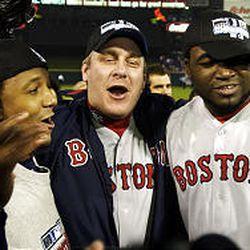 Boston's Pedro Martinez, left, Curt Schilling and David Ortiz are all smiles.