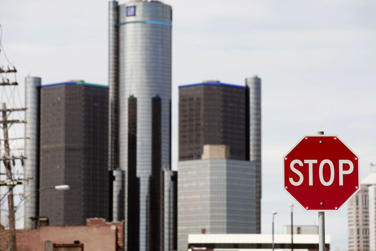 The General Motors world headquarters is seen April 24, 2014 in Detroit, Michigan.