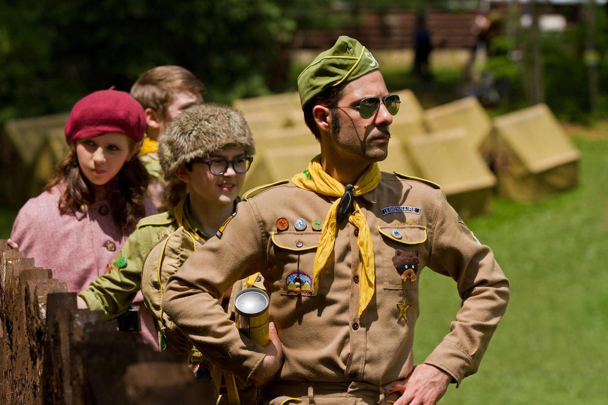 """In this film image released by Focus Features, from left, Kara Hayward, Jared Gilman and Jason Schwartzman are shown in a scene from """"Moonrise Kingdom."""""""