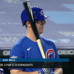 Alec Mills was the only Cubs pitcher to bat in 2020. Here, he pinch-hits for Craig Kimbrel. The Cubs had lost the DH when Victor Caratini moved to first base two innings earlier. Mills took four pitches and was called out on strikes.
